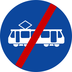 Traffic sign of Greece: End of the lane for trams