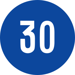 Traffic sign of Greece: Driving faster than indicated mandatory (minimum speed)