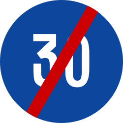 Traffic sign of Greece: End of the minimum speed
