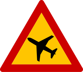 Traffic sign of Greece: Warning for low-flying aircrafts