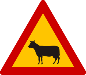 Traffic sign of Greece: Warning for cattle on the road
