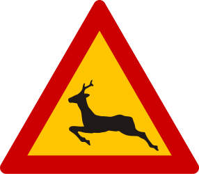 Traffic sign of Greece: Warning for crossing deer