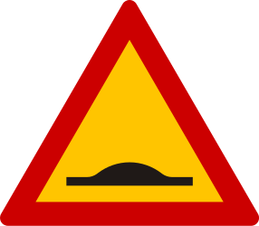 Traffic sign of Greece: Warning for a speed bump