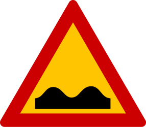 Traffic sign of Greece: Warning for a bad road surface
