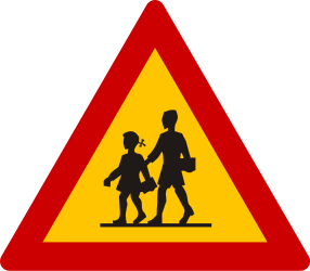 Traffic sign of Greece: Warning for children