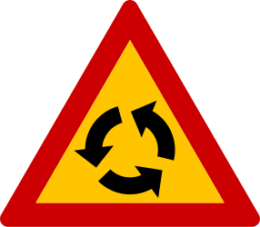 Traffic sign of Greece: Warning for a roundabout