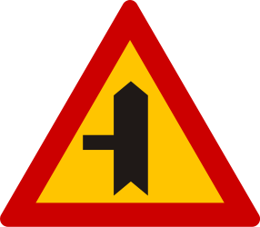 Traffic sign of Greece: Warning for a crossroad with a side road on the left