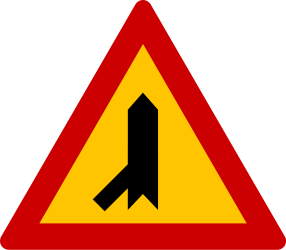 Traffic sign of Greece: Warning for a crossroad with a sharp side road on the left