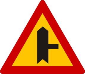 Traffic sign of Greece: Warning for side road on the right