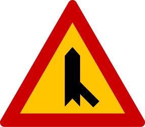 Traffic sign of Greece: Warning for a crossroad with a sharp side road on the right