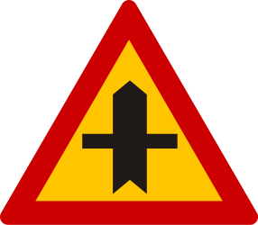 Traffic sign of Greece: Warning for a crossroad side roads on the left and right