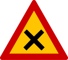 Traffic sign of Greece: Warning for an uncontrolled crossroad