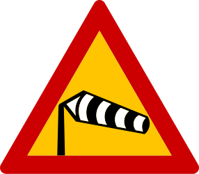 Traffic sign of Greece: Warning for heavy crosswind