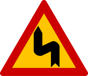Traffic sign of Greece: Warning for a double curve, first left then right