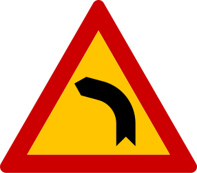 Traffic sign of Greece: Warning for a curve to the left