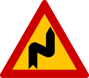 Traffic sign of Greece: Warning for a double curve, first right then left