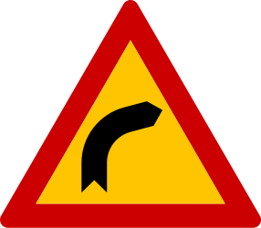 Traffic sign of Greece: Warning for a curve to the right