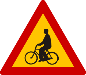 Traffic sign of Greece: Warning for cyclists