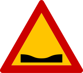 Traffic sign of Greece: Warning for a dip in the road