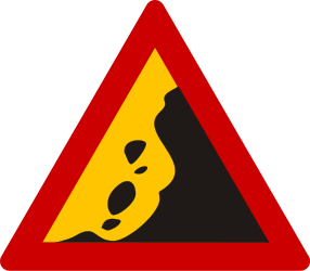 Traffic sign of Greece: Warning for falling rocks