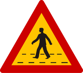 Traffic sign of Greece: Warning for a crossing for pedestrians