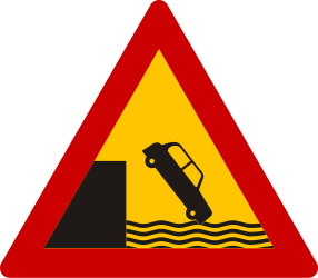 Traffic sign of Greece: Warning for a quayside or riverbank