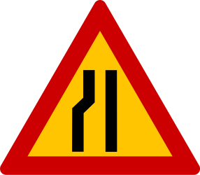 Traffic sign of Greece: Warning for a road narrowing on the left