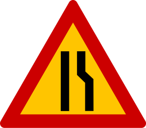 Traffic sign of Greece: Warning for a road narrowing on the right