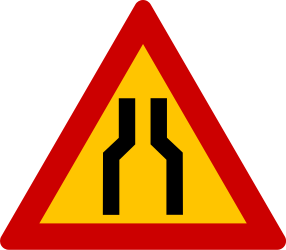 Traffic sign of Greece: Warning for a road narrowing
