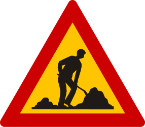 Traffic sign of Greece: Warning for roadworks