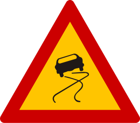 Traffic sign of Greece: Warning for a slippery road surface