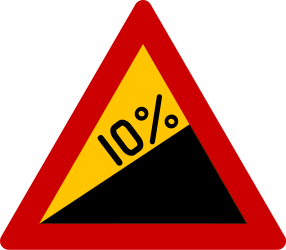 Traffic sign of Greece: Warning for a steep ascent