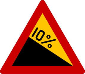 Traffic sign of Greece: Warning for a steep descent