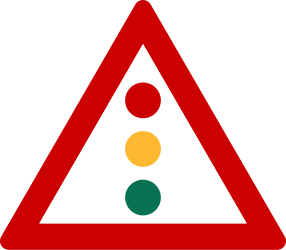 Traffic sign of Greece: Warning for a traffic light