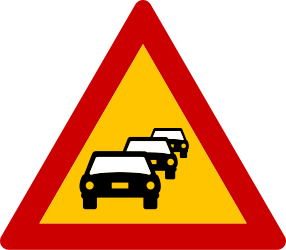 Traffic sign of Greece: Warning for traffic jams
