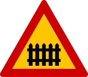 Traffic sign of Greece: Warning for a railroad crossing with barriers