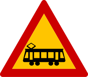 Traffic sign of Greece: Warning for trams