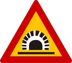 Traffic sign of Greece: Warning for a tunnel