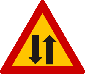 Traffic sign of Greece: Warning for a road with two-way traffic