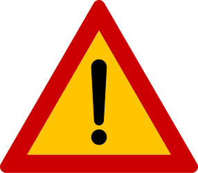 Traffic sign of Greece: Warning for a danger with no specific traffic sign