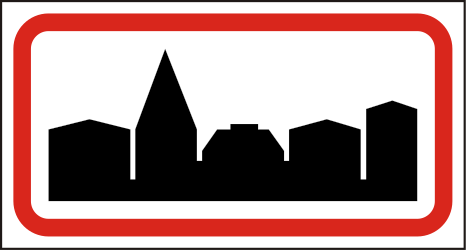 Traffic sign of Hungary: Begin of a built-up area