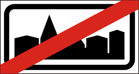 Traffic sign of Hungary: End of the built-up area