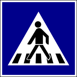 Traffic sign of Hungary: Crossing for pedestrians