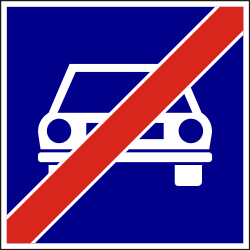 Traffic sign of Hungary: End of the expressway