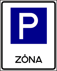 Traffic sign of Hungary: Begin of a parking zone
