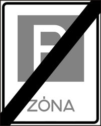 Traffic sign of Hungary: End of the parking zone