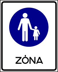 Traffic sign of Hungary: Begin of a zone for pedestrians