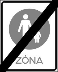 Traffic sign of Hungary: End of the zone for pedestrians