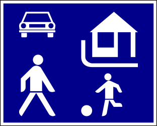 Traffic sign of Hungary: Begin of a residential area