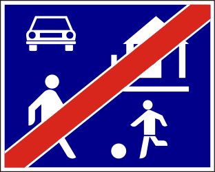 Traffic sign of Hungary: End of the residential area